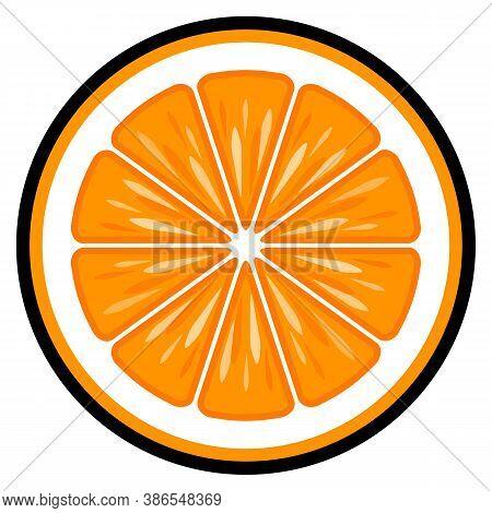 Orange Fruit Slice Vector Art Graphic Isolated On White Background. Ideal For Logo Design, Sticker,