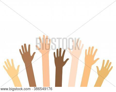 Raised Hands Of Diversity People Vector Isolated On White. Teamwork And Volunteering Concept. Charit