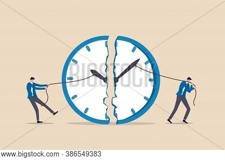 Time Management, Work Deadline Or Planning For Working Time Concept, Businessman Using Rope To Pull