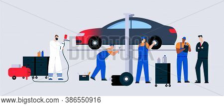 Car Service And Maintenance Scene, Technicians Team Working In Garage