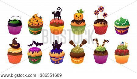 Happy Helloween Scary Cupcakes. Realistic Vector Illustration White Illustration