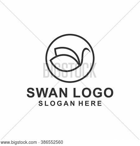 Abstract Line Bird Wing Leaf Logo Design. Swan Spa Start Vector Logotype