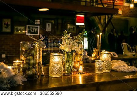 Flowers And Candles For Catering & Decor Purposes At Corporate Christmas Gala Event Party