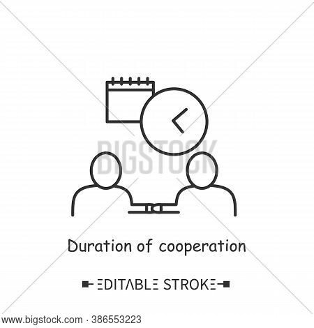 Cooperation Duration Line Icon. Contract Day. Cooperation Time Frames And Terms Of Agreement. Modern