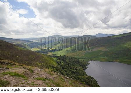 A Panoramic View To A Lough Tay In Wicklow Mountains National Park In Ireland