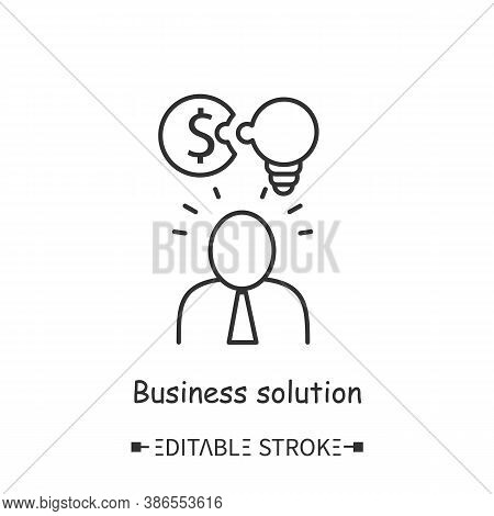Business Solution Line Icon. Business Ideas And Financial Strategies. Startup Idea.contemporary Busi