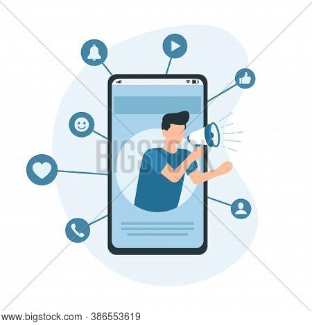 Mobile Marketing, E-commerce, Internet Advertising And Promotion. Digital Marketing Concept. Vector