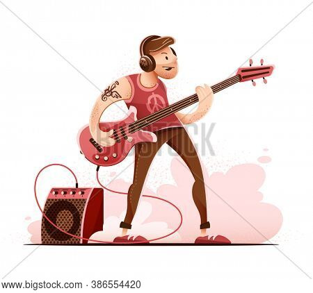 Rock guitar player man in headphones, playing rock music with Bass Guitar on concert stage. Sound amplifier speaker in smoke. Character isolated on white background. 3D illustration.