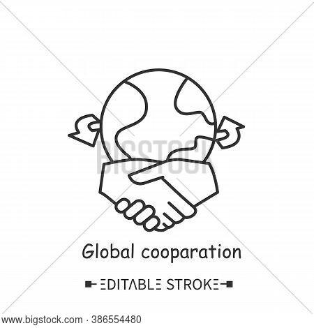 Global Cooperation Line Icon. Worldwide Partnership And Cooperation Of Major Companies. Internationa