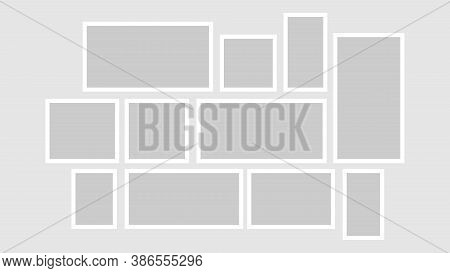 Vector Collage For Photos. Picture Frame. Vector Blank For Scrapbook Dont Forget Notes.