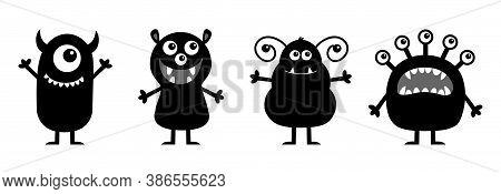 Monster Set Line. Happy Halloween. Cute Kawaii Cartoon Baby Character Icon. Eyes Teeth Fang Tongue,