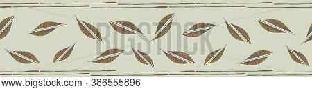 Mono Print Style Tribal Foliage Vector Border. Scattered Lino Cut Effect Offset Leaves And Striped B