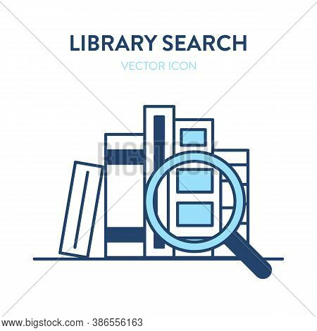 Book Search Icon. Vector Illustration Of A Stack Of Book On A Shelf And A Magnifier Tool. Represents