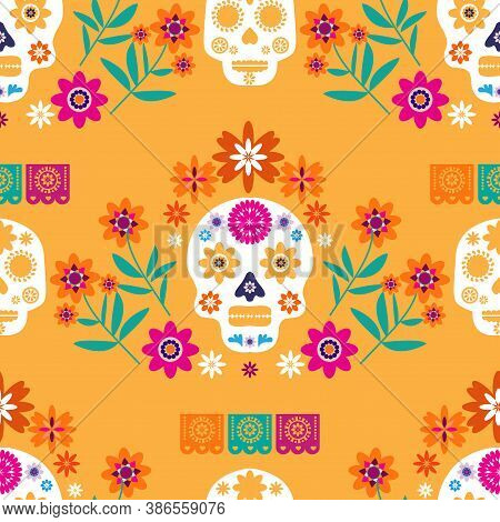 Mexican Seamless Pattern, Sugar Skulls And Colorful Flowers. Template  For Mexican Celebration, Trad