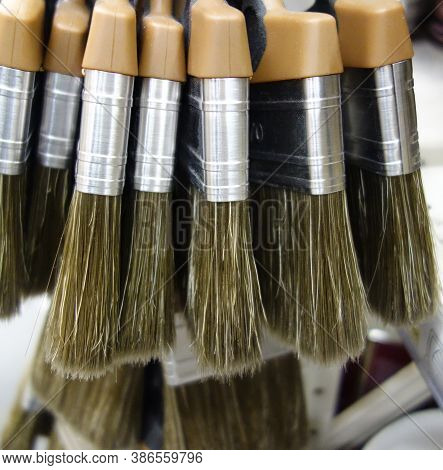 New Paint Brushes In The Shop, Construction And Renovation Concept