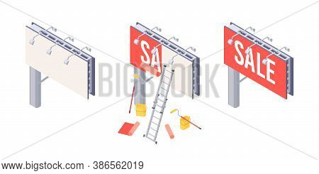 Billboard Installation Isometric Vector With Various Stages Of Sticking Advertising On Big City Ooh