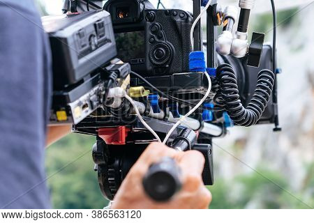 Film Industry. Filming With Professional Camera Background