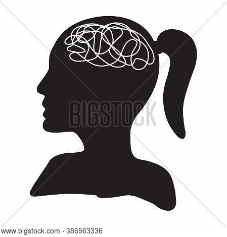 Woman Head With Tangled Messy Line Inside As Brain. Concept Of Chaotic Thought Process, Confusion, P
