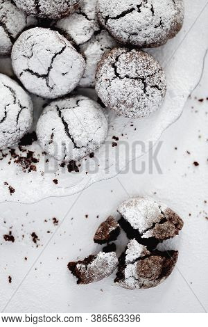 Chocolate Crinkle Cookies With Powdered Sugar Icing For Christmas Or New Year
