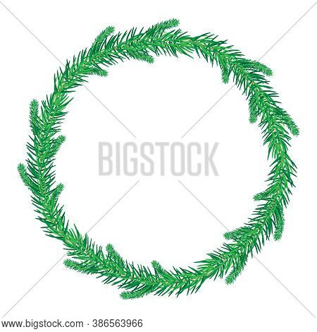Thin Green Christmas Fir Wreath Isolated On White Background. Christmas Wreath Without Decoration. R