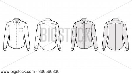 Classic Shirt Technical Fashion Illustration With Long Sleeves With Cuff, Front Button-fastening, Po