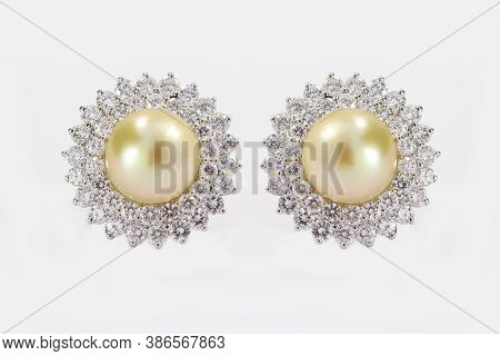 2 Line Halo Diamond Prong Setting Off White Pearl Stud In White Gold