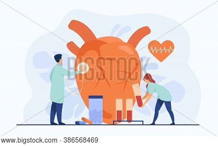 Cardiologists Examining Heart With Stethoscope And Blood Samples In Lab Tubes Among Pills And Heartb