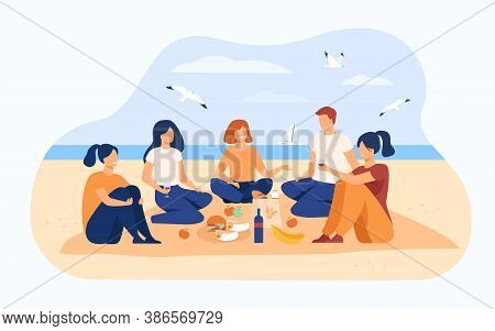 Happy Friends Sitting On Beach, Eating And Drinking Wine. Group Of Young People Meeting For Picnic A