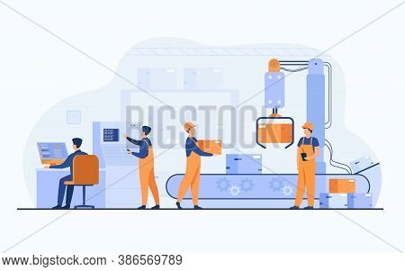 Factory Workers And Robotic Arm Removing Packages From Conveyor Line. Engineer Using Computer And Op