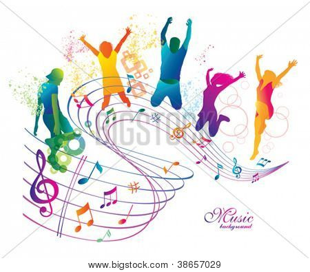 Active Jumping and Dancing People.  Abstract Music Background for Party.