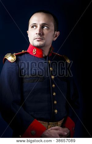 man wearing military jacket 19th century Spanish army, call of duty vintage