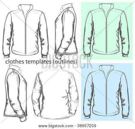 Vector. Men's sweatshirt with zipper (back, front and side view). Outlines
