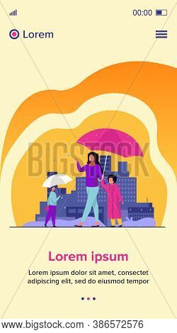 People Walking During Rain On Street Colorful Flat Vector Illustration. Mother With Child In Raincoa
