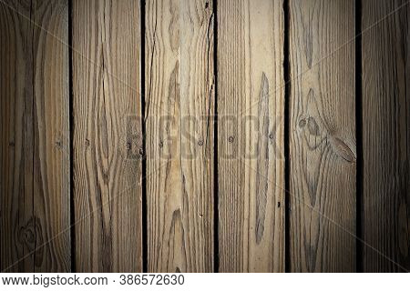The Texture Of The Brown Board With Nails. Fence Boards From Old Boards With Nails. Blank For Design
