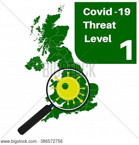Covid-19 Uk Threat Level 1 (green) With Map And Magnifying Glass