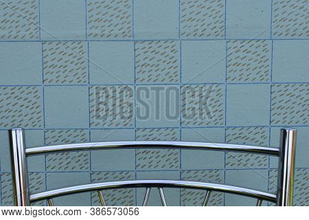 Wall With Vintage Wallpaper, Backrest Of Modern Metal Chair, Background