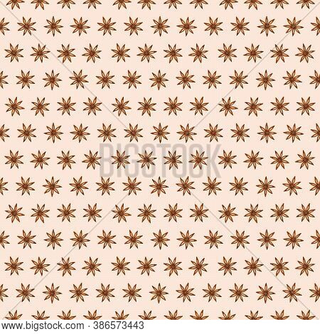 Watercolor Anise Star Spice Seamless Pattern. Dried Seasoning, Condiment. Hand Drawn Background For