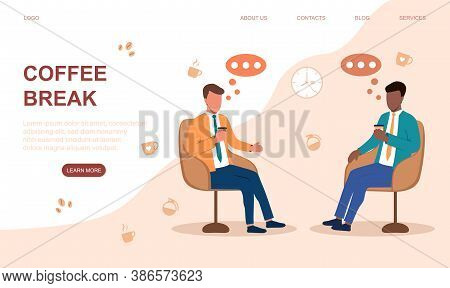 Two Diverse Businessmen Sitting In Arm Chairs Drinking Coffe And Talking. Coffe Break And Business C