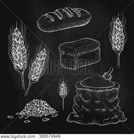 Chalk Drawn Breads, Flour Bag And Wheatears On Black Chalkboard. Vector Sketch Illustration Of Squar