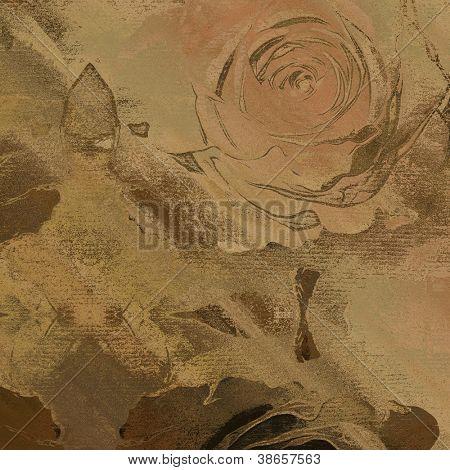 art floral autumn sepia background card