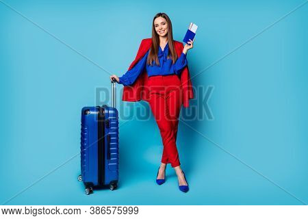 Full Length Photo Of Attractive Lady Showing Documents Hold Big Rolling Suitcase Corporate Trip Wear