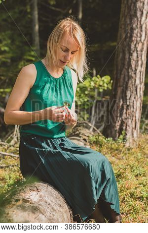Blonde Woman Sitting On Old Tree Trunk And Hold In Her Hands Cranberry Twig In Front Of Dense And Da