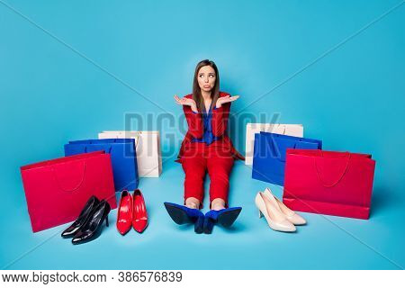 Full Length Photo Of Upset Lady Successful Worker Sit Offended Floor Near Shoes Shopping Bags Diffic