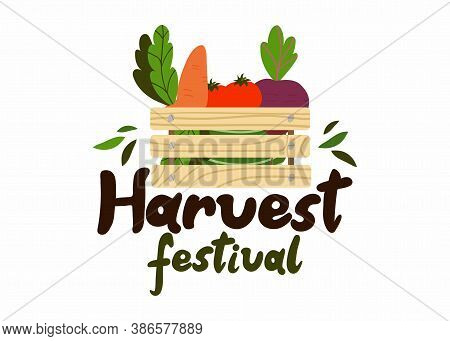 Harvest Festival Lettering. Hand Drawn Text With Box, Autumn Poster With Vegetables Farm Market Embl