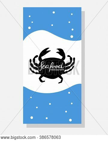 Seafood Doodle Menu. Cafe, Restaurant Menus Cover, Flyer Or Poster With Ocean Products. Crab On Blue
