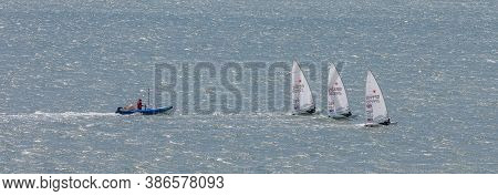 Portland Harbour, United Kingdom - July 3, 2020: High Angle Aerial Panoramic Shot Of The Laser Class