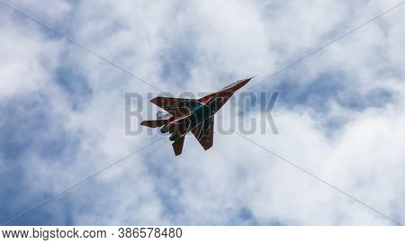 Barnaul, Russia - September 18, 2020: A Low Angle Close-up Shot Of Strizhi Mig-29 Fighter Jet Perfor
