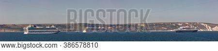 Weymouth Bay, United Kingdom - June 25, 2020: Beautiful Panoramic Shot Of P&o Cruise Ships Azura And