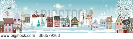 Winter Landscape In Village With Cute Cartoon Of Fairies House, Christmas Night In Small Town In Win