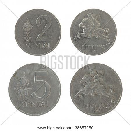 Lithuanian centas coins isolated on white poster